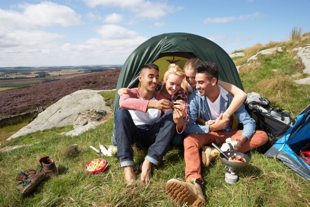 youth camping outdoors