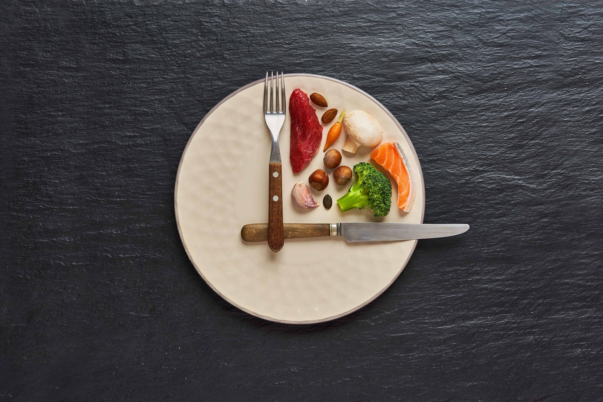 plate of healthy food with knife and fork depicting hands of a clock