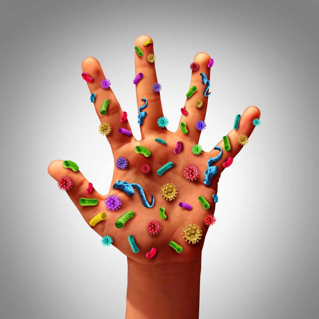 hand with germs
